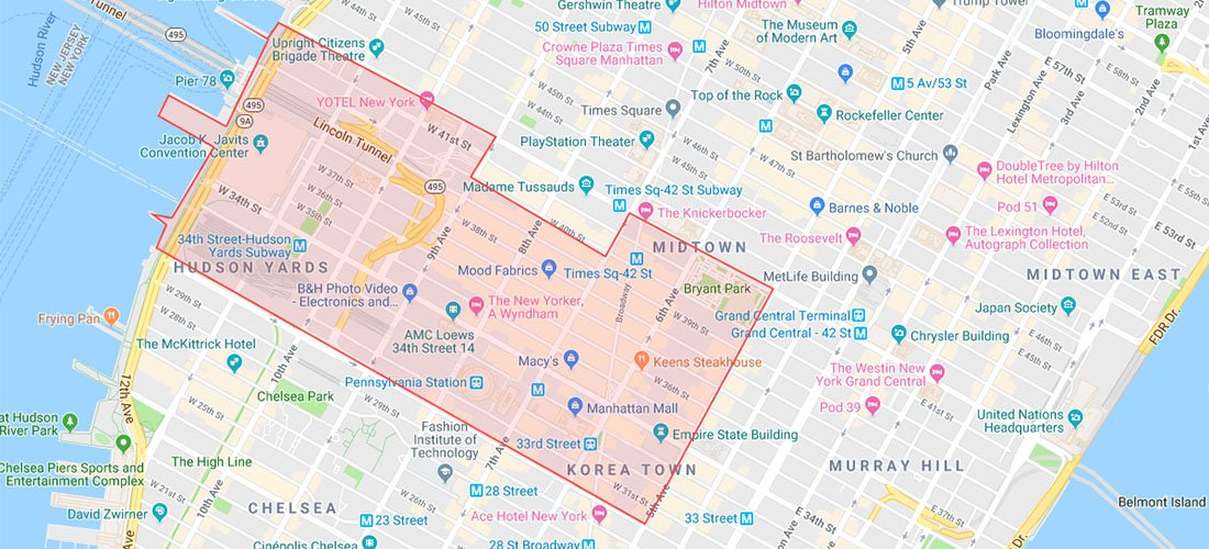 Midtown West map